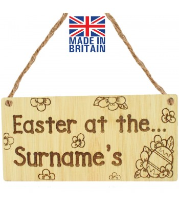 Laser Cut Personalised Oak Veneer 'Easter at the...' Engraved Mini Plaque with Easter Egg and Flowers