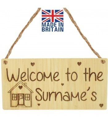 Laser Cut Personalised Oak Veneer 'Welcome to the...' Engraved Mini Plaque with House