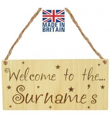 Laser Cut Personalised Oak Veneer 'Welcome to the...' Engraved Mini Plaque with Stars