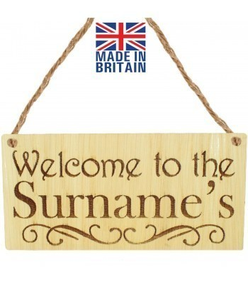 Laser Cut Personalised Oak Veneer 'Welcome to the...' Engraved Mini Plaque with Fancy Underline