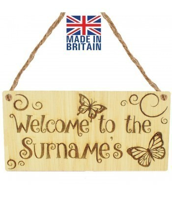Laser Cut Personalised Oak Veneer 'Welcome to the...' Engraved Mini Plaque with Butterflies and Swirls