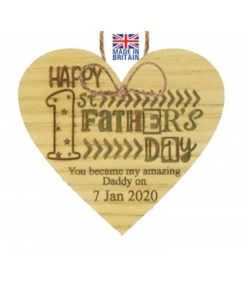 Laser Cut Personalised Oak Veneer 'Happy 1st Father's Day. You became my amazing Daddy on...' Engraved Mini Heart Plaque