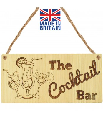 Laser Cut Oak Veneer 'The Cocktail Bar' Engraved Mini Plaque