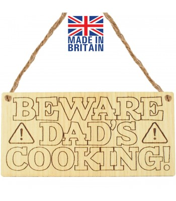 Laser Cut Oak Veneer 'Beware Dad's Cooking' Engraved Mini Plaque