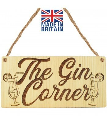 Laser Cut Oak Veneer 'The Gin Corner.' Engraved Mini Plaque