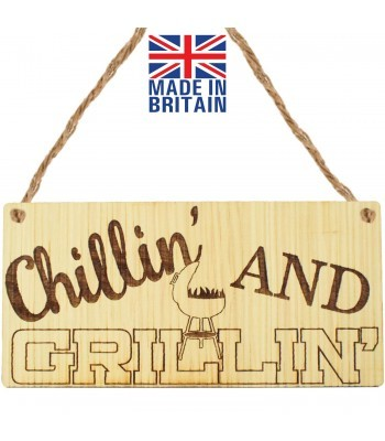 Laser Cut Oak Veneer 'Chillin' And Grillin' ' Engraved Mini Plaque