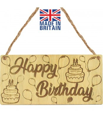 Laser Cut Oak Veneer 'Happy Birthday' Engraved Mini Plaque with Balloons