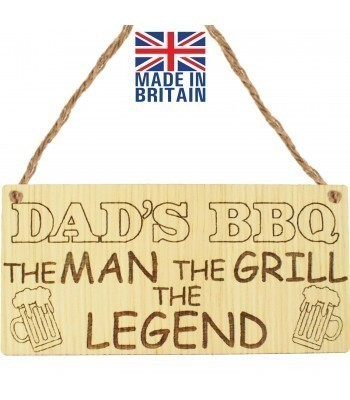Laser Cut Oak Veneer 'Dad's BBQ. The Man. The Grill. The Legend' Engraved Mini Plaque