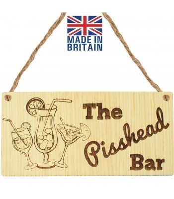 Laser Cut Oak Veneer 'The P*sshead Bar' Engraved Mini Plaque