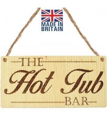 Laser Cut Oak Veneer 'The Hot Tub Bar' Engraved Mini Plaque