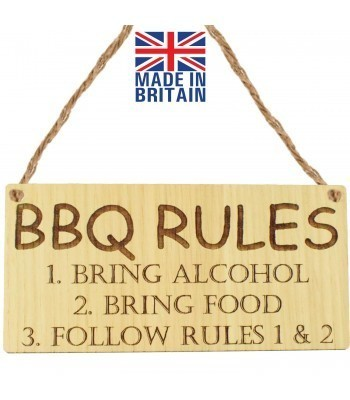Laser Cut Oak Veneer 'BBQ RULES 1. Bring Alcohol 2. Bring Food 3. Follow Rules 1 & 2' Engraved Mini Plaque