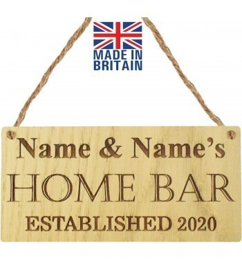 Laser Cut Personalised Oak Veneer 'Home Bar Established 2020' Engraved Mini Plaque with House