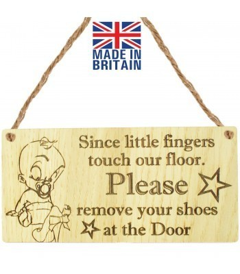 Laser Cut Oak Veneer 'Since little fingers touch our floor. Please remove your shoes at the Door' Engraved Mini Plaque