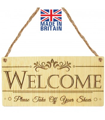 Laser Cut Oak Veneer 'Welcome. Please Take Off Your Shoes' Engraved Mini Plaque