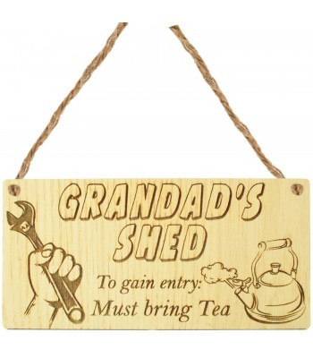 Laser Cut Oak Veneer 'Grandad's Shed To gain entry: Must bring Tea' Engraved Mini Plaque