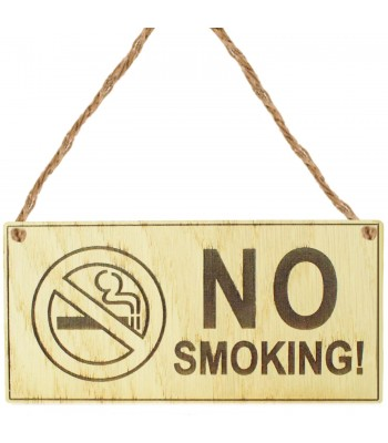 Laser Cut Oak Veneer 'No Smoking' Engraved Mini Plaque