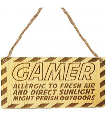 Laser Cut Oak Veneer 'Gamer allergic to fresh air and direct sunlight might perish outdoors' Engraved Mini Plaque
