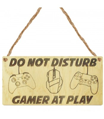 Laser Cut Oak Veneer 'Do Not Disturb Gamer At Play' Engraved Mini Plaque