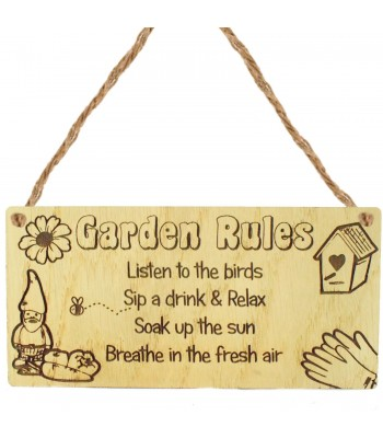 Laser Cut Oak Veneer 'Garden Rules. Listen to the birds. Sip a drink & Relax. Soak up the sun. Breathe in the fresh air.' Engraved Mini Plaque