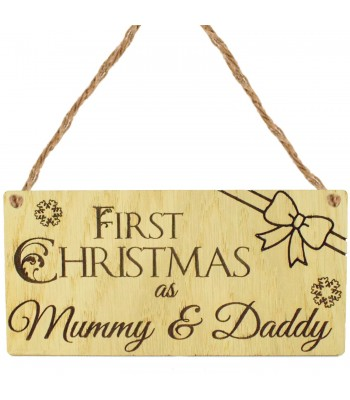Laser Cut Oak Veneer 'First Christmas as Mummy & Daddy' Engraved Mini Plaque