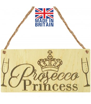 Laser Cut Oak Veneer 'Prosecco Princess' Engraved Mini Plaque
