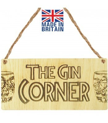 Laser Cut Oak Veneer 'The Gin Corner' Engraved Mini Plaque