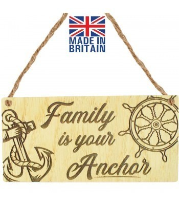 Laser Cut Oak Veneer 'Family is your Anchor' Engraved Mini Plaque