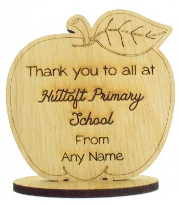 Laser Cut Personalised Oak Veneer 'School Name' Engraved Teachers Apple on a Stand