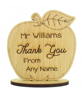 Laser Cut Personalised Oak Veneer 'Thank You' Engraved Teachers Apple on a Stand
