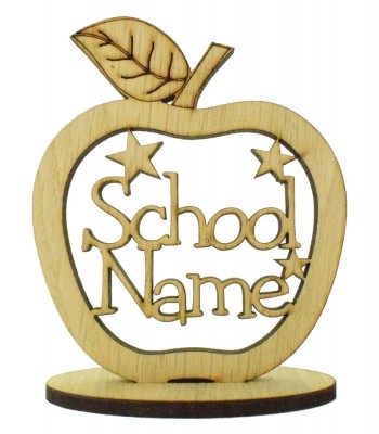 Laser Cut Oak Veneer 'School Name' Teachers Apple on a Stand with Stars