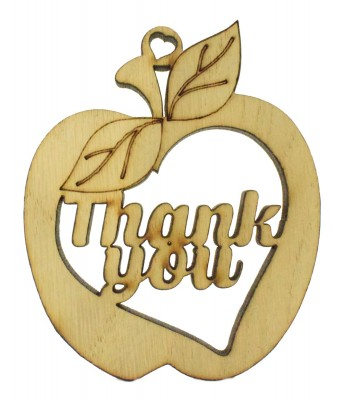 Laser Cut Oak Veneer 'Thank You' Hanging Teachers Apple