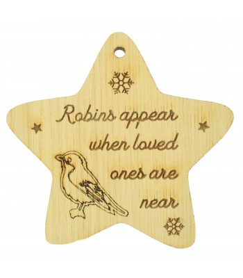 Laser Cut Oak Veneer Engraved Christmas Decoration - 'Robins appear when loved ones are near' Star