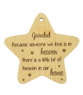 Laser Cut Oak Veneer 'Grandad Because someone we love' Engraved Mini Heart Plaque