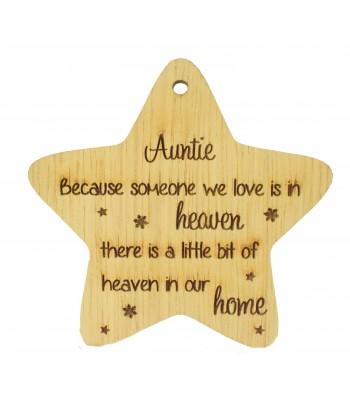 Laser Cut Oak Veneer 'Auntie Because someone we love' Engraved Mini Heart Plaque