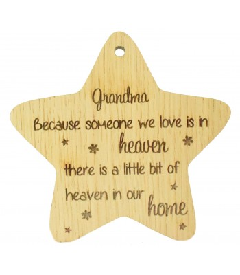 Laser Cut Oak Veneer 'Grandma Because someone we love' Engraved Mini Heart Plaque