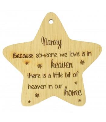 Laser Cut Oak Veneer 'Nanny Because someone we love' Engraved Mini Heart Plaque