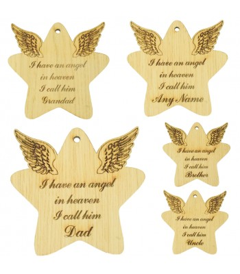 Laser Cut Oak Veneer Engraved Christmas Decoration - 'I have an angel in heaven I call him...' Star with Angel Wings - Options