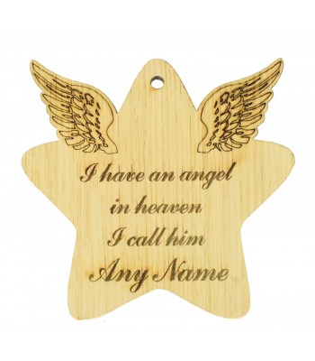 Laser Cut Personalised Oak Veneer Engraved Christmas Decoration - 'I have an angel in heaven I call him...' Star with Angel Wings