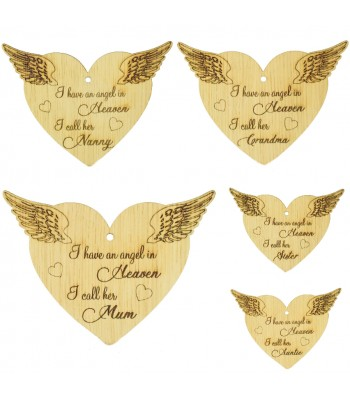 Laser Cut Oak Veneer Engraved Christmas Decoration - 'I have an angel in heaven I call her...' Heart with Angel Wings - Options