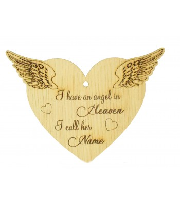 Laser Cut Personalised Oak Veneer Engraved Christmas Decoration - 'I have an angel in heaven I call her...' Heart with Angel Wings