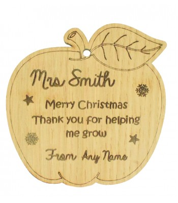 Laser Cut Personalised Oak Veneer Engraved Christmas Decoration - Teachers Apple