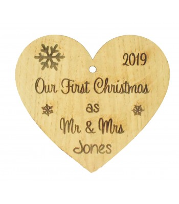 Laser Cut Personalised Oak Veneer Engraved Christmas Decoration - 'Our First Christmas as Mr & Mrs' Heart with a Year