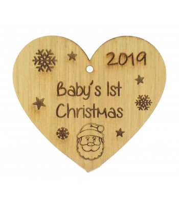 Laser Cut Personalised Oak Veneer Engraved Christmas Decoration - 'Baby's 1st Christmas' Heart with Year