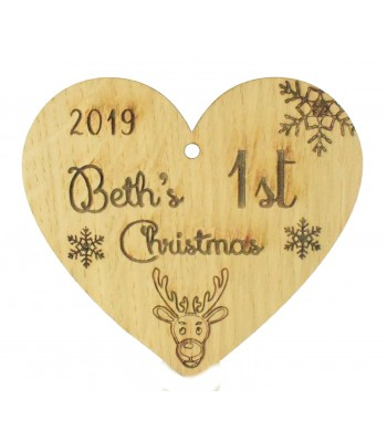 Laser Cut Personalised Oak Veneer Engraved Christmas Decoration - '1st Christmas' Heart with Year