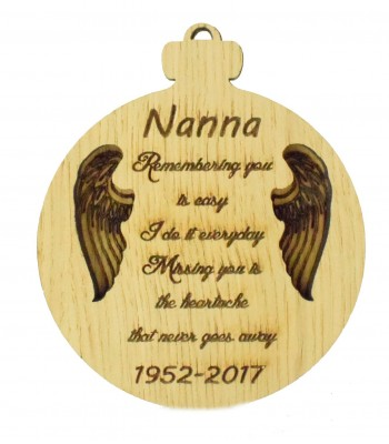 Laser Cut Personalised Oak Veneer Engraved Christmas Decoration - 'Remembering you is easy...' Double Bauble with Angel Wings