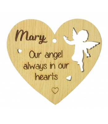 Laser Cut Personalised Oak Veneer Engraved Christmas Decoration - 'Our angel always in our hearts' Heart