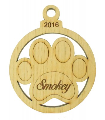 Laser Cut Personalised Oak Veneer Engraved Christmas Decoration - Paw Print Bauble with Year