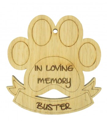 Laser Cut Personalised Oak Veneer Engraved Christmas Decoration - 'In Loving Memory' Paw Print with Banner