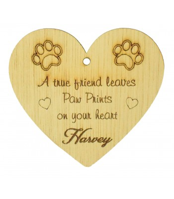 Laser Cut Personalised Oak Veneer Engraved Christmas Decoration - 'A true friend leaves Paw Prints on your heart' Heart