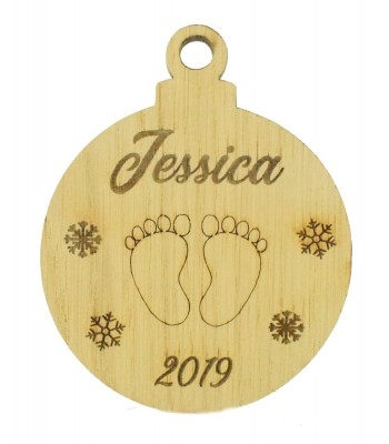 Laser Cut Personalised Oak Veneer Engraved Christmas Decoration - Baby Foot Prints Bauble with Year